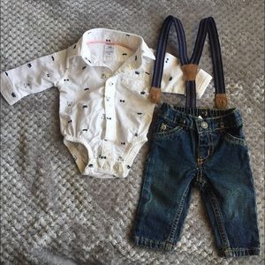 Other - Dress shirt set with pants and spenders
